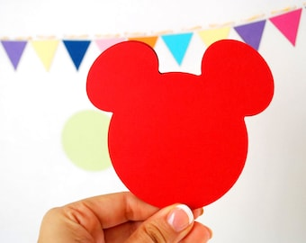 18 Mickey Mouse die cut (4 x3.75 inches) choose your color A139