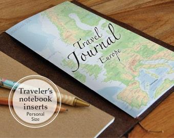 Printable Travel Journal Book - Fauxdori Travelers Notebook PERSONAL size book insert refills - Europe