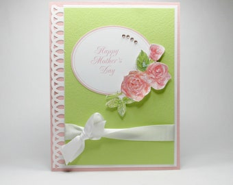 Mother's day card, Mother's day for mom, pink roses, Mother's day for grandmother, elegant Mother's day card, bella card creations