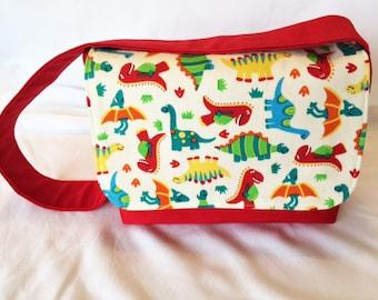 Child's Messenger Bag, Boy's Messenger Bag, Red Messenger Bag, Small Satchel, Dinosaur Bag, Child's Book Bag, Child's Gift