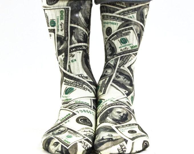 Samson® Dollars Hand Printed Socks Sublimation Money Currency Bill Quality Print UK