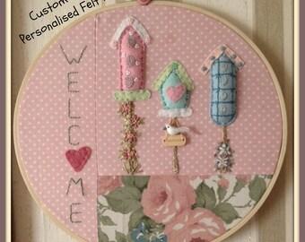"""Wall/Door Hanging- Embroidery Hoop Felt Art- Handmade- """"HOME TWEET HOME"""" Can be Personalised"""
