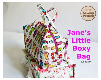 Jane's Little Boxy Bag PDF Easy Sewing Pattern | PDF Sewing Pattern | Boxy Pouch Pattern | Zipper Pouch Pattern | Make up pouch pattern