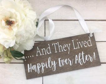 """And They Lived Happily Ever After Wedding Sign-12""""x 12"""" Rustic Wedding Sign-Flower Girl Sign-Ring Bearer Sign"""