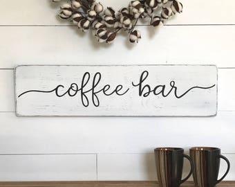 "Coffee sign | coffee bar |  wood sign | farmhouse wall decor | farmhouse sign | farmhouse kitchen decor | rustic wood sign | 28"" x 7.25"""