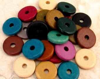 Mykonos Round Washer Greek Ceramic Beads 13mm Assorted 25-Pieces M103