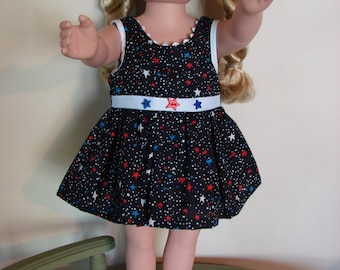 18 Inch Doll Clothes   American Girl, Etc   Patriotic Dress  Red, White and Blue  Fourth of July  New   Handmade