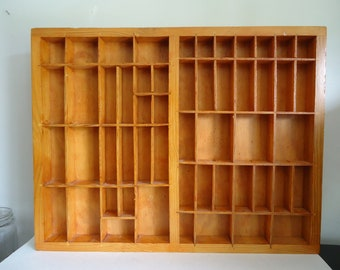 Printers tray, letterpress printers tray, printers drawer, display storage, wood box, divided box