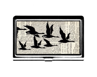 Business Card Case Geese dictionary page collage Credit Card Holder stainless steel metal card case metal wallet birds nature