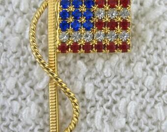 Vintage Rhinestone US Flag Brooch, Vintage Flag Pin, Patriotic Jewelry, Red White Blue Flag Pin Brooch