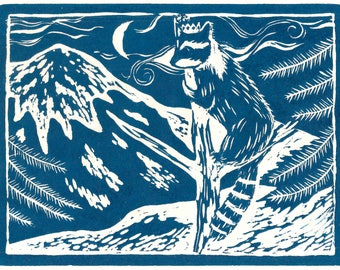 "8 x 10"" Laser Print of ""Raccoon and Mount Tacoma (Rainier)"" (teal)"