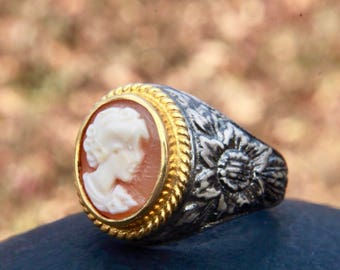 Cameo ring -  victorian ring - oval ring - mothers ring - statement ring, engagement ring, signet ring, flower ring