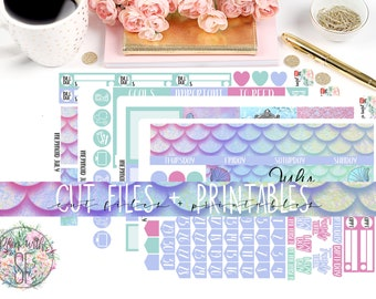 Mermaid July Printable Planner Stickers/Monthly kit/for Happy Planner