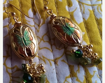 TAX Season Sale Gold Tone Cloissone Enamel Butterfly Peridot and Crystal Drop Earrings