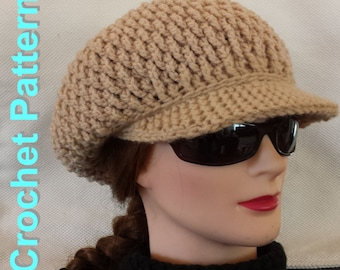 Crochet Pattern - Textured Newsboy with firm brim