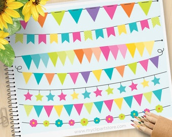 Bunting Clipart - Rainbow Colors, Spring Bunting, Banner Flags, Birthday Party banner, Candy, Commercial Use, Vector clip art, SVG Cut Files