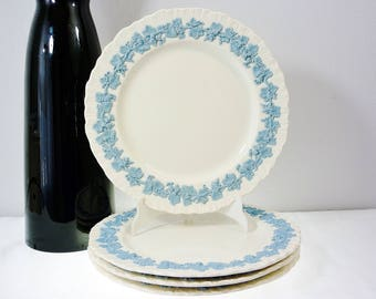 Wedgwood of Etruria Barlaston Embossed Queens Ware Dinner Plates