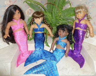 American Girl Doll Mermaid Costume; American Girl Mermaid Tail-Fast shipping!