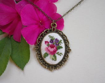 Hand Embroidered Rose and Purple Flowers Pendant Necklace