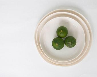 Porcelain Plate Set, Handmade Plates, Minimalist Dinnerware, Gift for Her, Wedding Gift, White Porcelain, Housewarming Gift