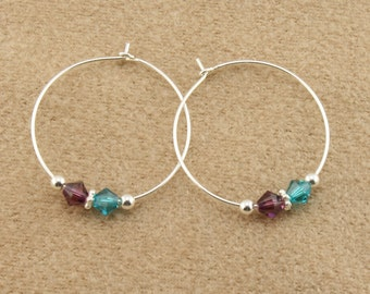 """Sterling Silver Mothers Earrings with 2 Swarovski Birthstone Crystals, 1"""" (25mm) Wire Hoop Earrings,your choice of Crystal Birthstone colors"""