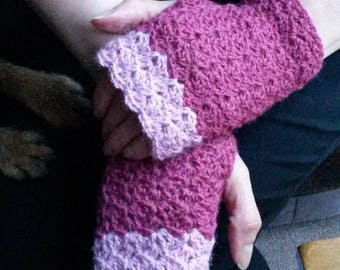 Two-tone crochet fingerless gloves alpaca