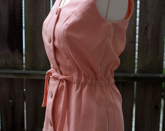 Vintage sleeveless Blouse, Vintage Blouse, Minimal Blouse, Pink Blouse, secretary blouse