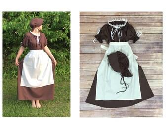 Complete Outfit - Girls Size 6/8 Pioneer Trek Colonial Frontier Prairie Pilgrims Renaissance Reenactment Civil War Dress Costume
