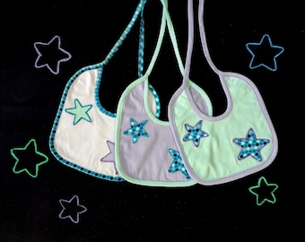 Set of three bibs, star applique, coordinated bibs, mint green lilac, gift for mom, gift for baby, polka dot baby shower, boy girl newborn