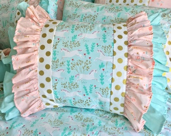 Mint Unicorn Pillow Shams, Gold Dot Sham, Mint Sham, Gold Standard Ruffle Sham, Room Makeovers, Designer Pillows, Mint Pillow Shams