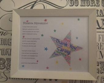 Thank You Poem, Gift For Preschool Teacher, Teachers Leaving Gift, Word Cloud Frames, Gift For Teaching Assistants
