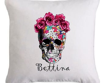 SKULL pillow personalized with name