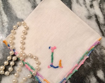 Monogram hanky, L initial hanky, embroidered L handkerchief, Mothers' Day, multi color, crochet edge