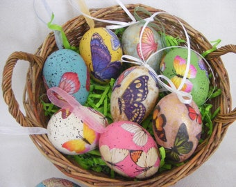 Easter Eggs 6 Decoupage Butterfly Eggs Multi-colored  Pastel Eggs Rainbow EggsFree Shipping