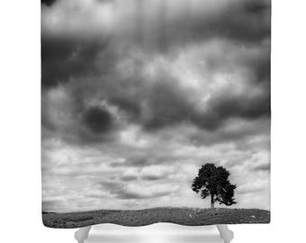 Tree shower curtain, tree bathroom decor, black and white, landscape shower curtain, nature decor,photo shower curtain, monochrome,landscape