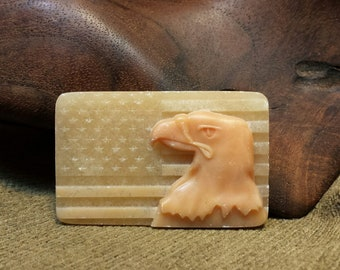 NEW ~ Patriotic Bald Eagle over American Flag Carved in Natural Red Malachite