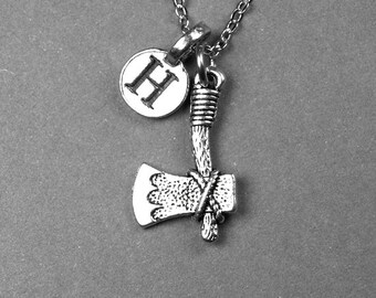 Axe Necklace, Battle Ax charm, Tomahawk, personalized jewelry, antiqued silver plated, initial necklace, monogram letter, initial charm
