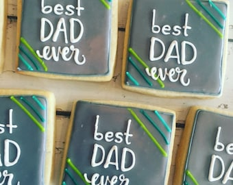 Best dad ever square cookies