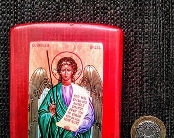 Icon of the Guardian Angel holding a scroll bearing words from the 91st (90th) Psalm.