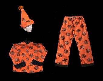 RARE! Antique Costume d'Halloween des années 1920 coton déco Print Clown / 20 s Costume 3 pièces / pointe chapeau