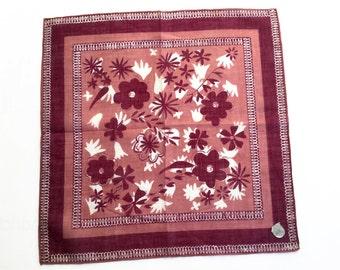 Stoffels vintage hankie with flowers, vintage handkerchief made in Switzerland