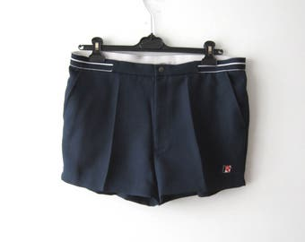 Vintage Navy Tennis Shorts Dark Blue Beach Shorts Navy Blue Vintage Running Shorts With Pockets Size Large Shorts Renee Mens Shorts