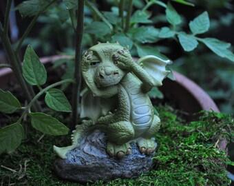 """Fairy Garden Dragon """"See No Evil""""+Fairy Garden Sculpture+Fairy Garden Miniature"""
