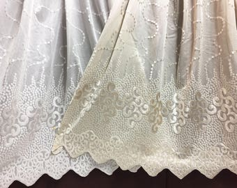 Sheer Fabric - Polyester Patterned Semi Sheer Panel - White or Champagne  - Decorative Shaped Hem  - Singed Flower Fabric - P16 - 1 Panel