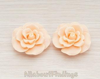 CBC157-AP // Apricot Colored Ruffle Rose Flower Flat Back Cabochon, 2 Pc