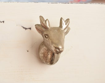 Deer Head Antlers Drawer Knobs in Silver, Drawer Pull, Cabinet Pull, Cabinet Knobs