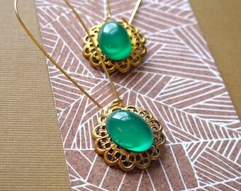 Green Glass Dangle Earrings Vintage Brass Filigree Charms set with Jade Green Glass Stones Vintage Gemstone Earrings