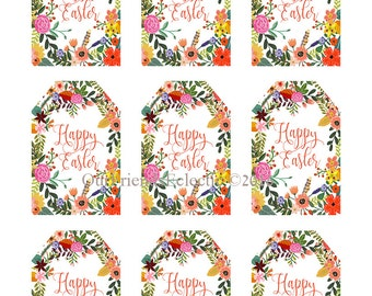 printable happy easter tags, happy easter digital tags, digital easter tags, happy easter printable tags, 2 x3, printable easter tags