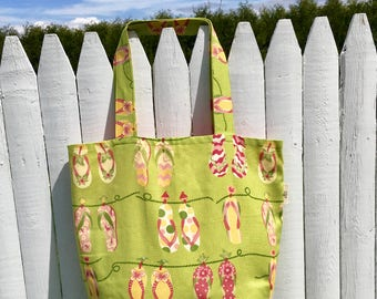 Handmade lined tote bag with cell phone pocket, flip flop tote bag, library bag, tote bag with pocket