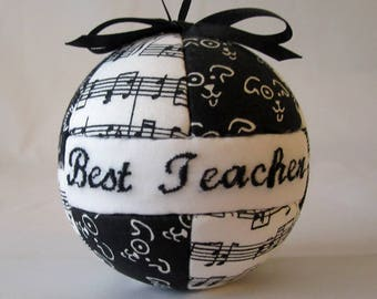 Best Teacher Christmas Ornament with Music Notes, Gift for Him, Gift for Her, Gift Under 20, Home Decor, Tree Decoration, Holiday, Gift